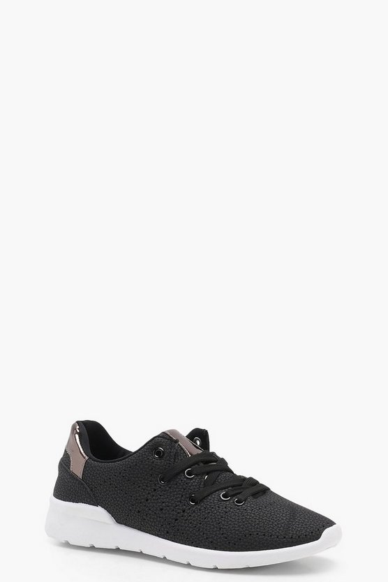Leather Effect Lace Up Sports Trainers