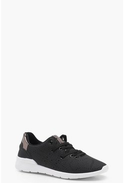 Womens Leather Effect Lace Up Sports Trainers