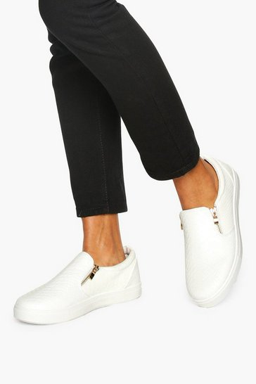 Womens White Snake Effect Side Zip Skaters