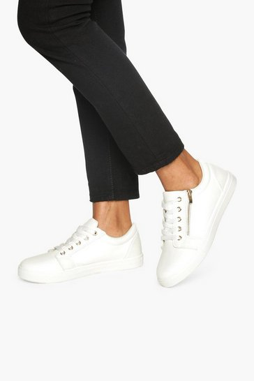 Womens White Zip Side Snake Effect Trainers