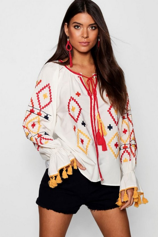 Embroidered Woven Smock Top
