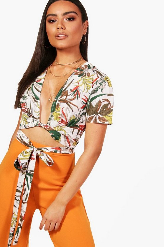 Safari Floral Wrap Tie Crop