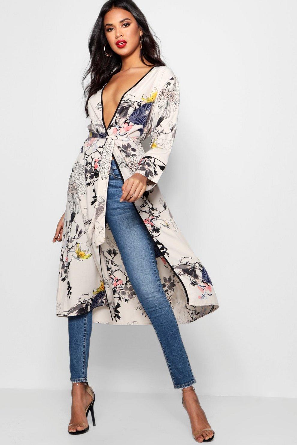 90f6ff64bfa9 Oriental Floral Belted Wrap Kimono   Boohoo