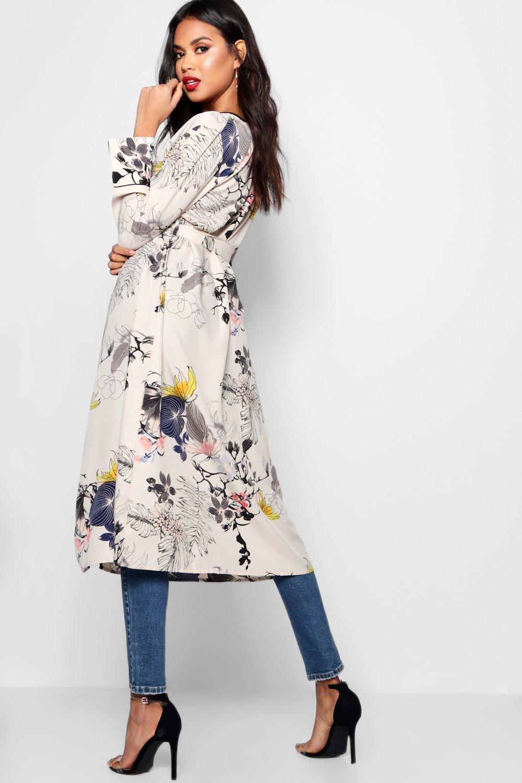 estampado Floral Kimono cruzado blanco con 7nqH5BWRU
