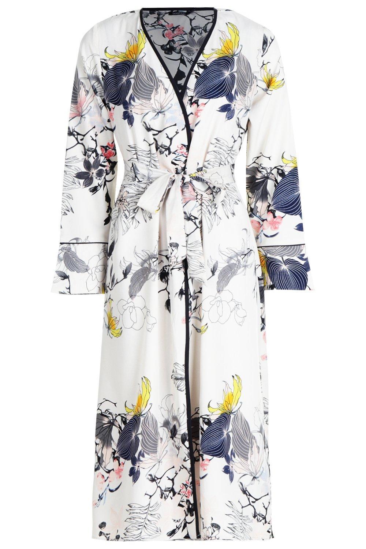 Floral blanco cruzado estampado con Kimono YgqCaa