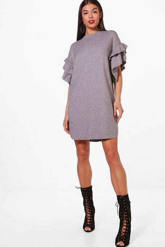 Ruffle Sleeve Marl Knitted Dress