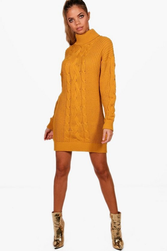 Alicia Roll Neck Cable Knit Dress