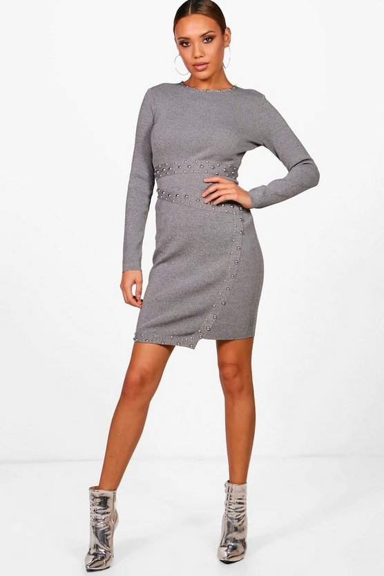 Asymmetric Studded Knitted Bodycon Dress