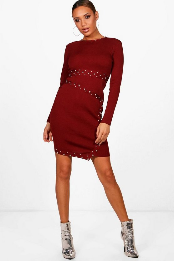 Harriet Asymmetric Studded Knitted Bodycon Dress