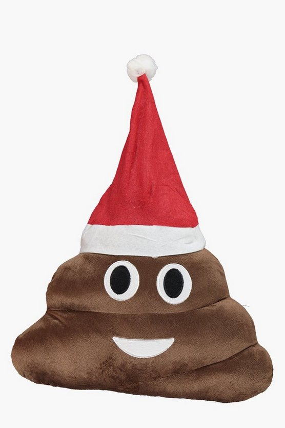 Poo Love Struck Emoji Christmas Cushion