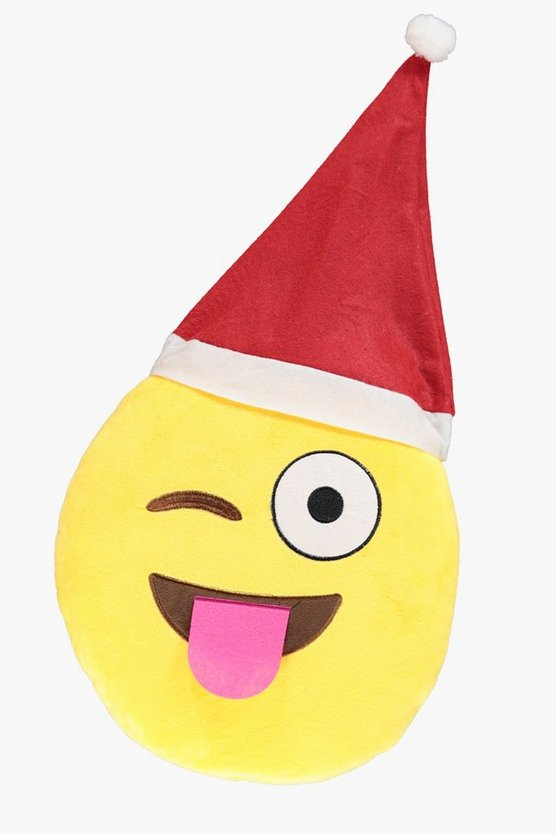 Wink Christmas Emoji Cushion