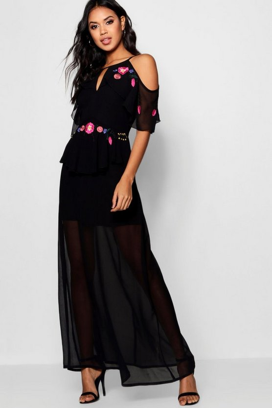 Embroidered Ruffle Maxi Dress