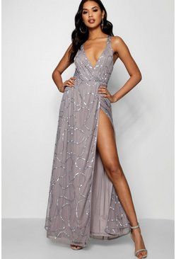 Womens Grey Plunge Wrap Sequin Maxi Dress