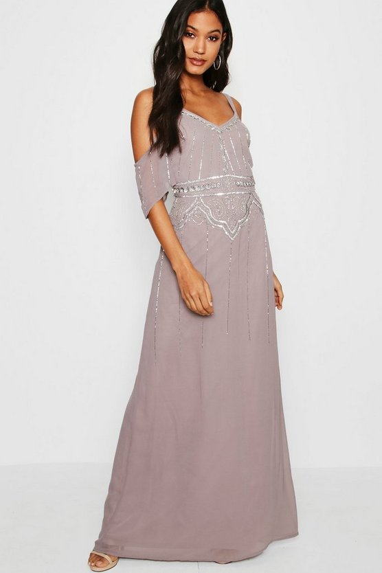 Boutique Embellished Waist Maxi Dress