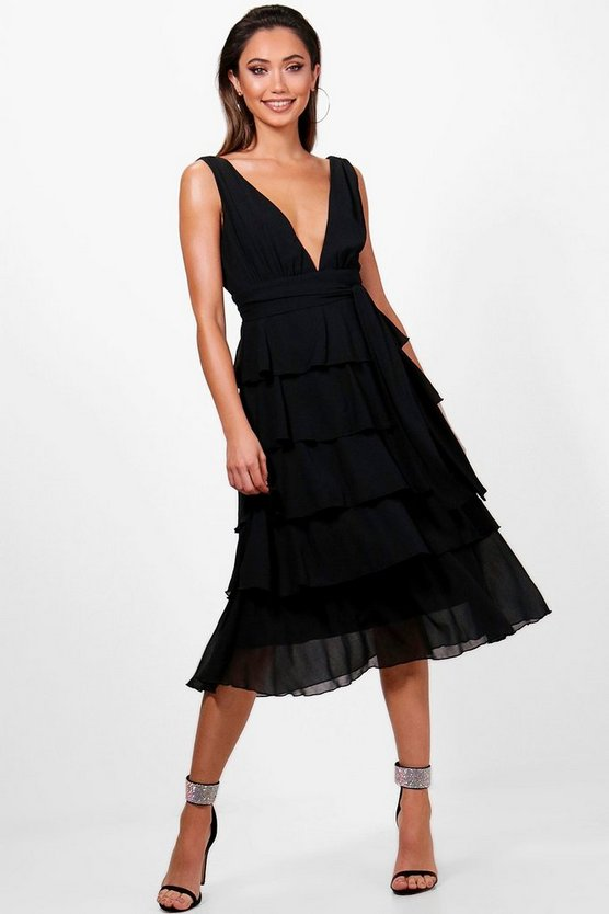 Plunge Ruffle Midi Dress