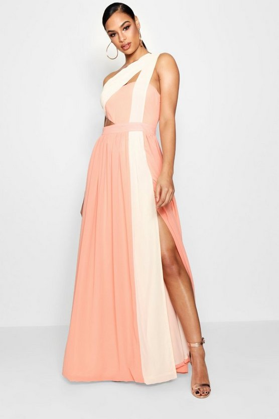 Boutique  Cut Out Colour Block Maxi Dress, Peach, MUJER