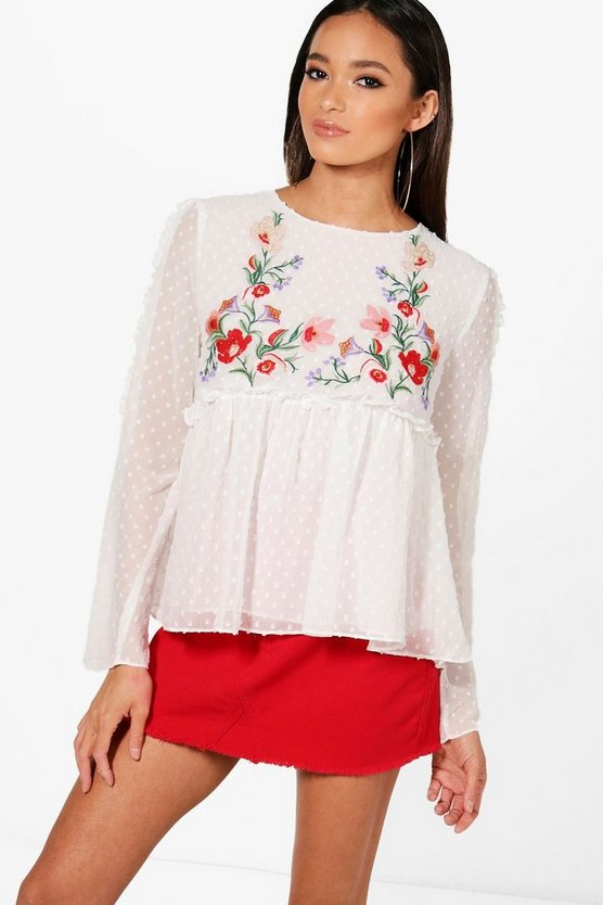 Nadia Embroidered Long Sleeve Blouse