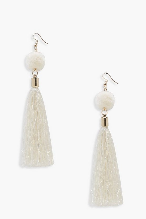 Cream Pom & Tassel Earrings