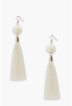 Womens Cream Pom & Tassel Earrings