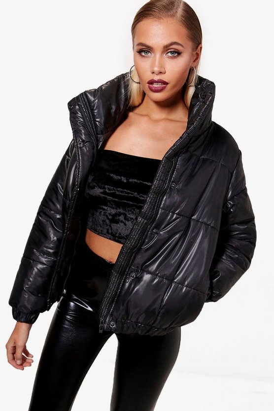High Shine Crop Puffer Jacket