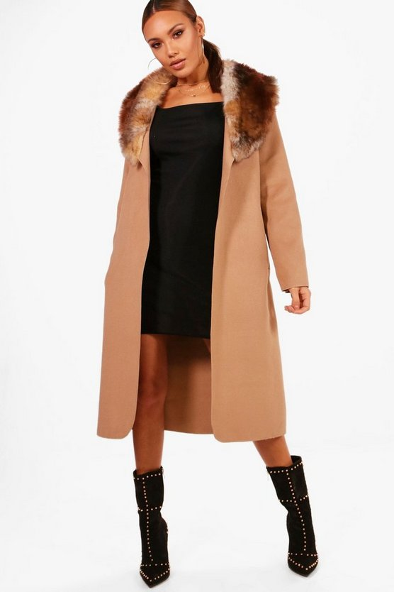 Faux Fur Trim Coat