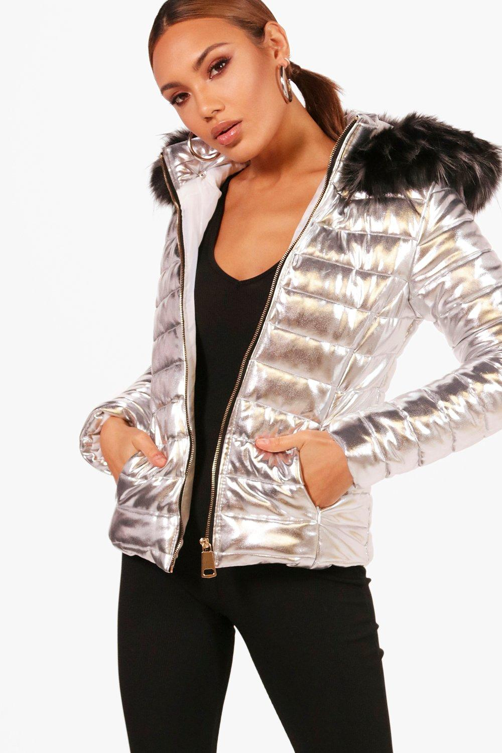 buying new purchase authentic official site Short Faux Fur Hood Puffer Jacket   Boohoo