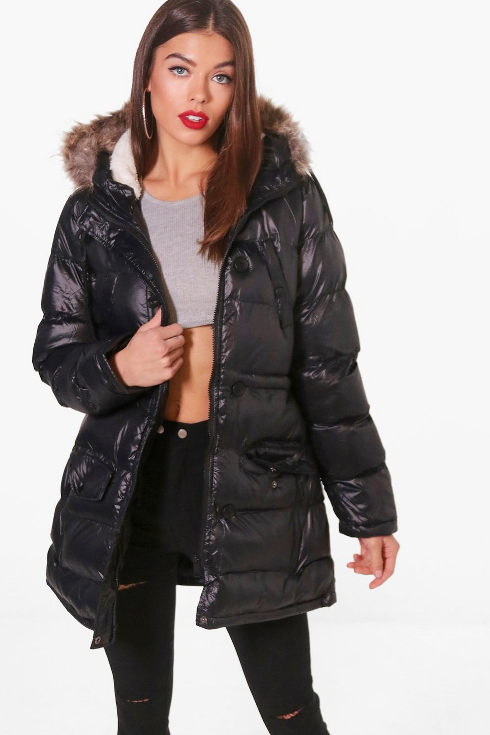 Shiny Faux Fur Hood Puffer Jacket Boohoo