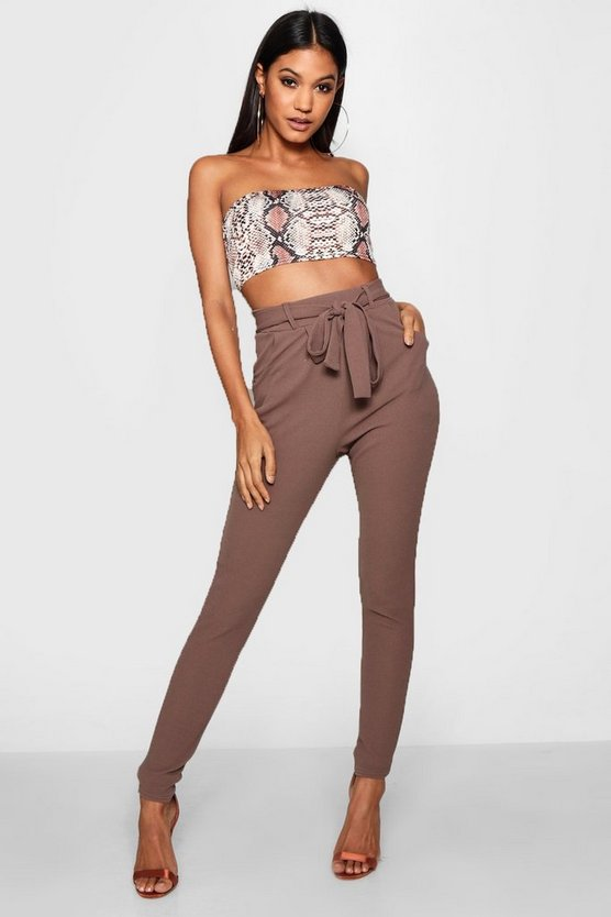 Bow Tie Waist Pleat Front Trouser