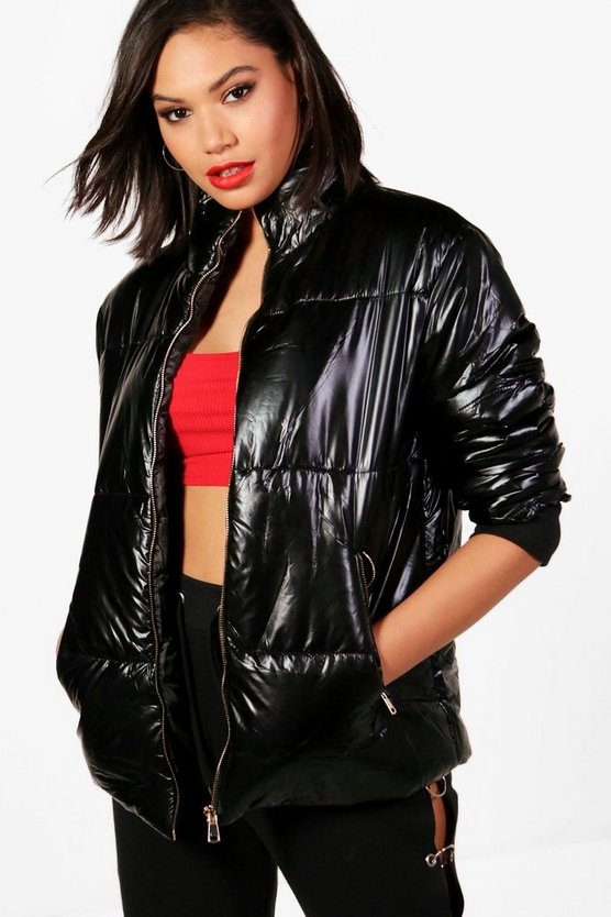 Metallic Crop Padded Jacket