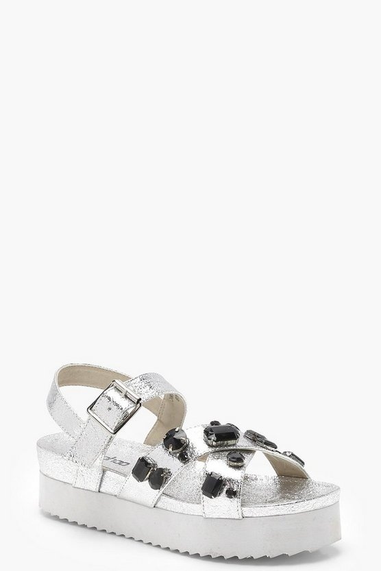 Embellished Cross Strap Flatform Sandals