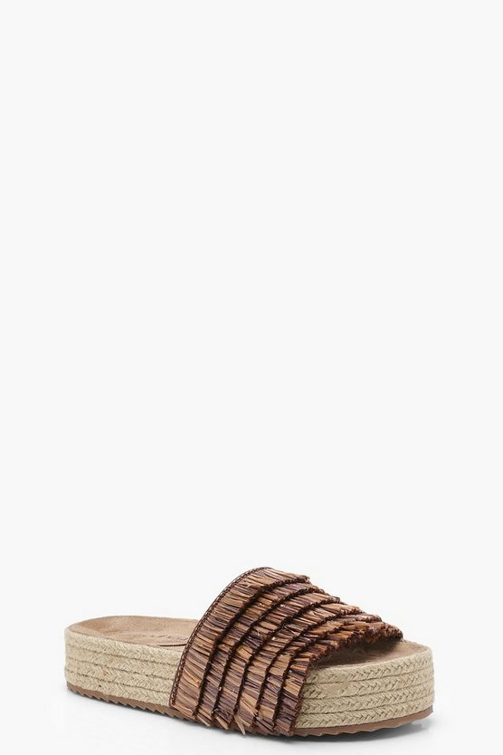 Ruffle Espadrille Flatforms Sliders