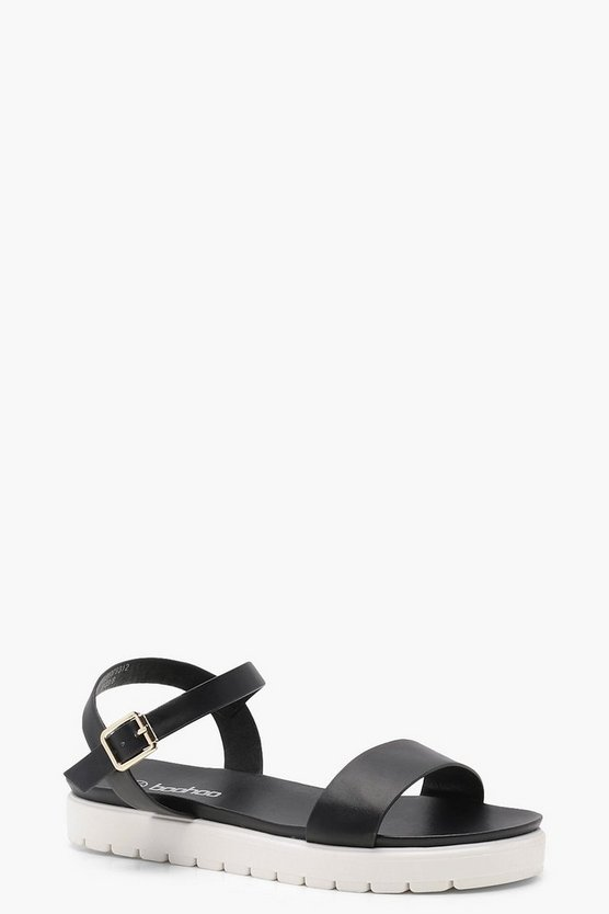 Cleated 2 Part Flat Sandals, Black, FEMMES