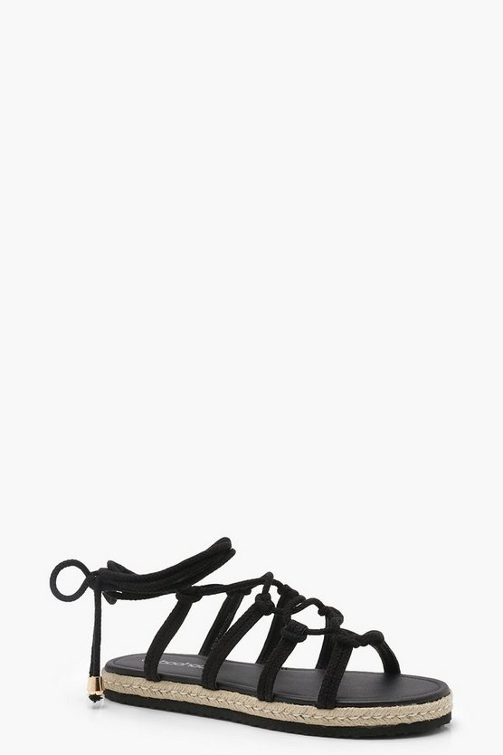 Rope Tie Up Flat Sandals