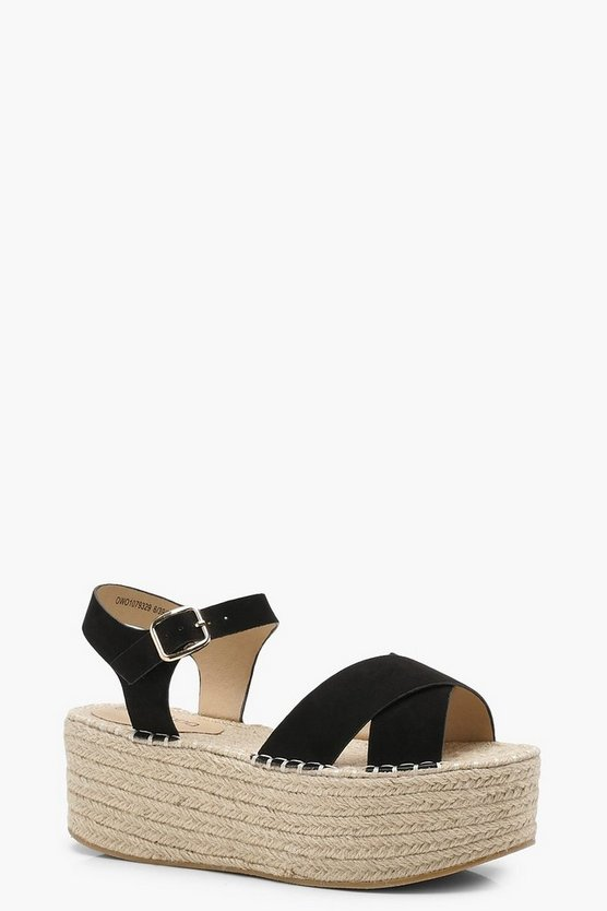 Cross Strap Flatform Espadrille Wedges