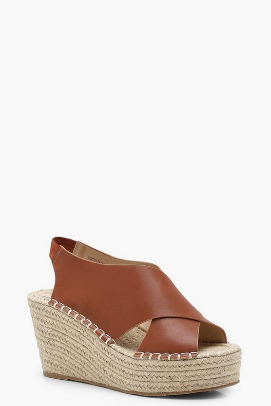 Cross Strap Sling Back Espadrille Wedges