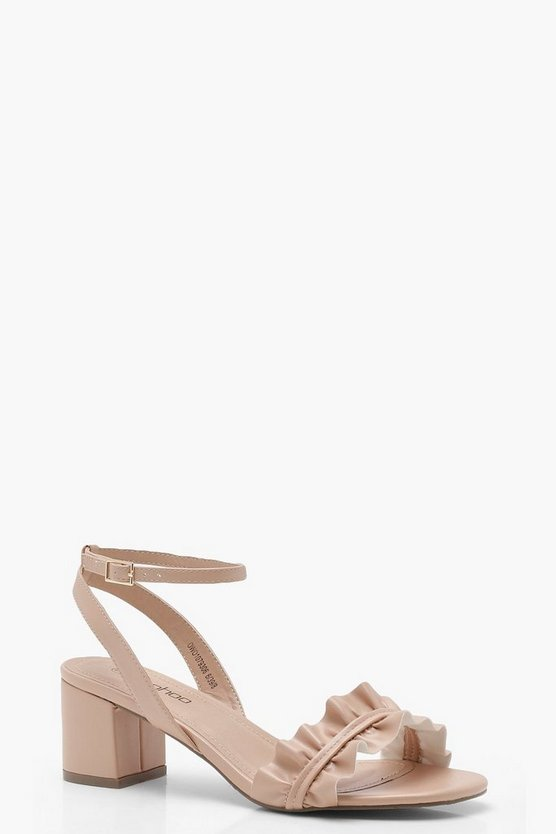 Ruffle Front Low Block Heels
