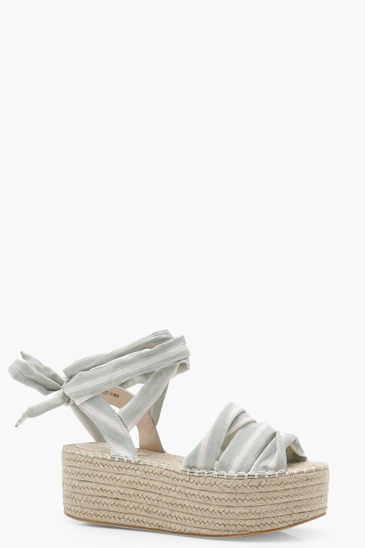 9f3a049c2b7 Striped Wrap Ankle Flatform Espadrille Wedges | Boohoo