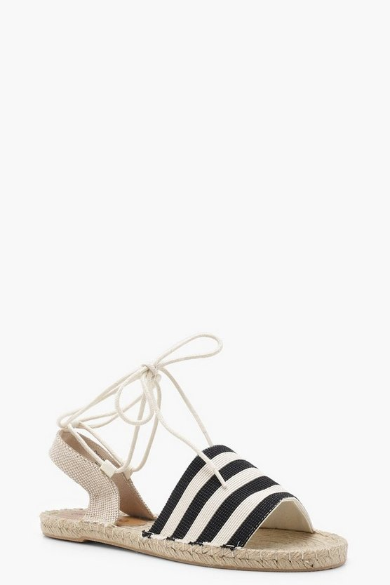 Canvas Striped Ankle Wrap Espadrille Flats