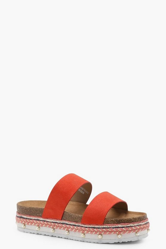 Layered Espadrille Double Band Sliders