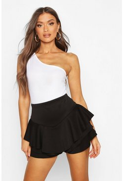 Womens Black Ruffle Skort