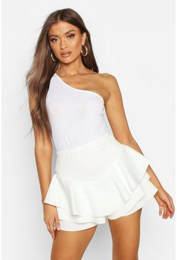 Womens White Ruffle Skort