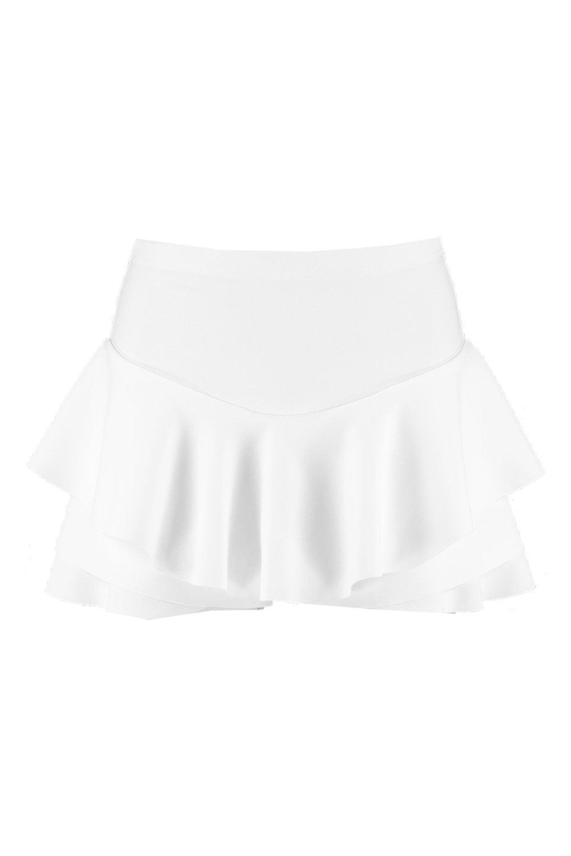 blanco pantalón pantalón con pantalón con volante volante con Falda Falda Falda blanco YqYpwBRA