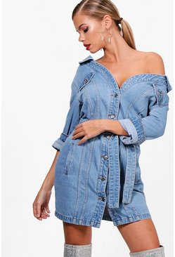 Womens Light blue Off The Shoulder Denim Shirt Dress