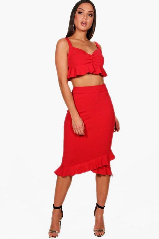Mia Ruffle Ruched Bralet and Midi Skirt Co-ord