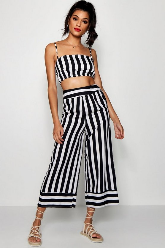 Womens Black Stripe Square Neck Trouser Co-ord