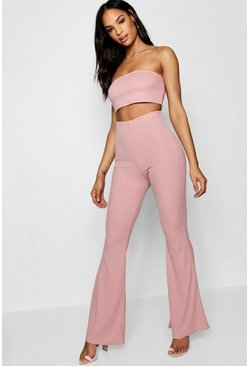 Womens Blush Basic Bandeau and Flared Trouser Co-ord