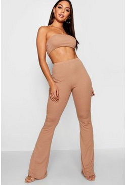 Womens Camel Basic Bandeau and Flared Trouser Co-ord