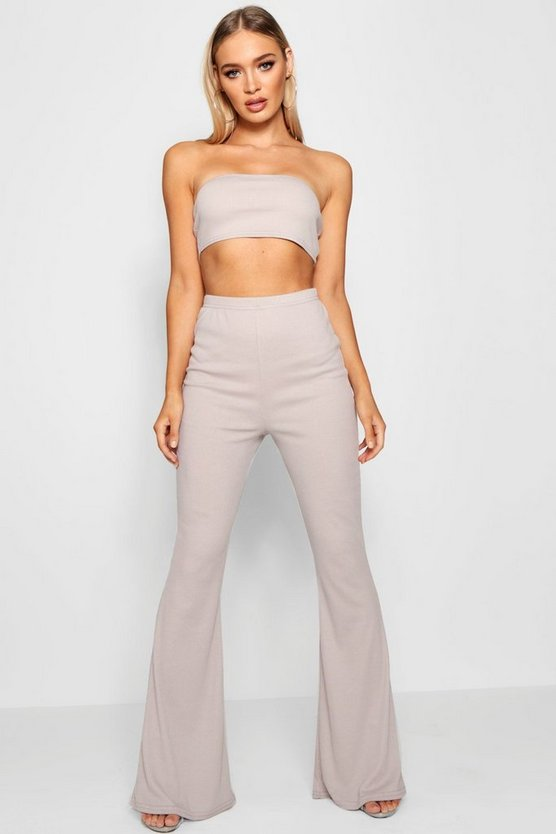 Womens Grey marl Basic Bandeau and Flared Trouser Co-ord