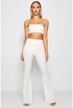Womens Ivory Basic Bandeau and Flared Trouser Co-ord