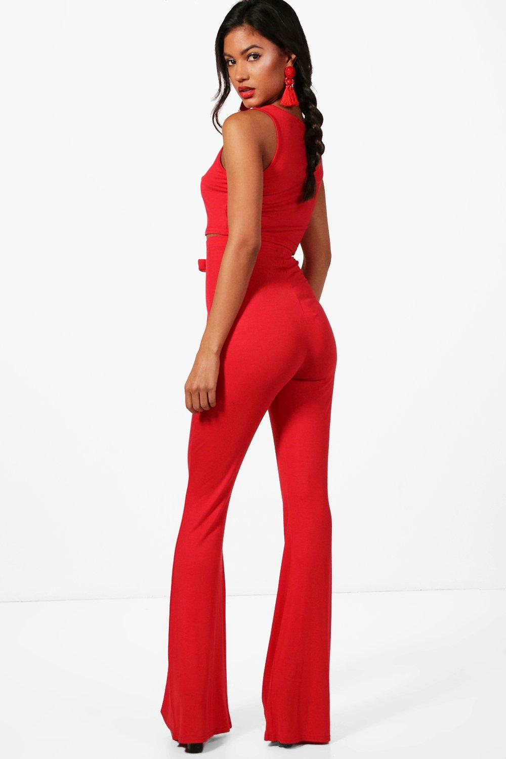 Trouser Flared Bralet Basic Co red ord and 1ExtEwP7qH